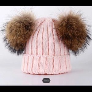 Toddlers/Children's Pink Real Fur Hat